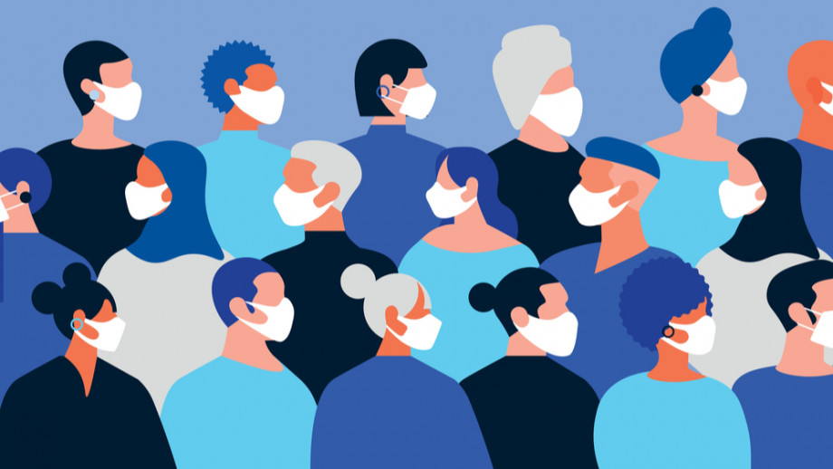 illustration with different people of different sexes and ethnic diversity all wearing face masks