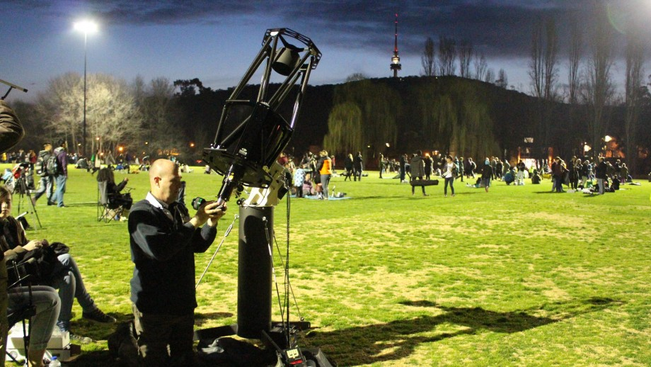 Setting up for the world record stargazing event.