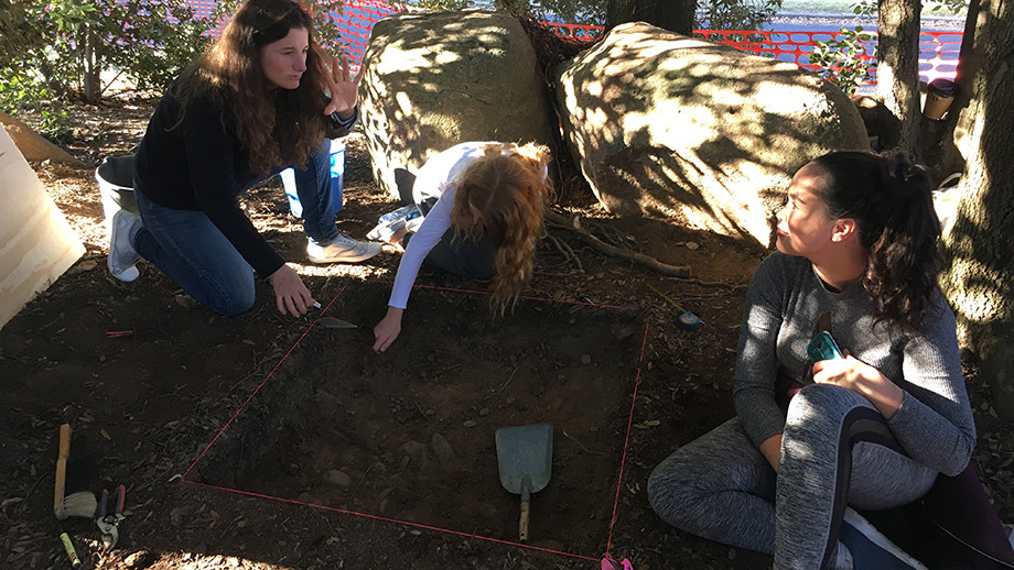 Archaeology students excavating the site in 2016. Image: Steve Skitmore / ANU