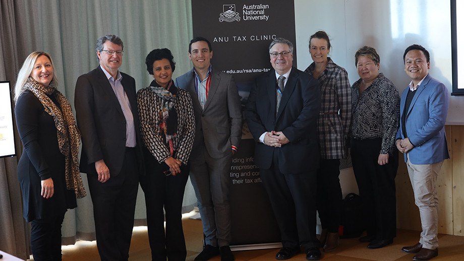Dr Bronwen Whiting, Prof Neil Fargher, Dr Sonali Walpola, ATO official, Tim Brushaber, ATO Assistant Commissioner, Damien Browne, ATO Assistant Commissioner, Annabel Ferguson, Dr Juliana Ng and Prof Vinh Lu at the launch.