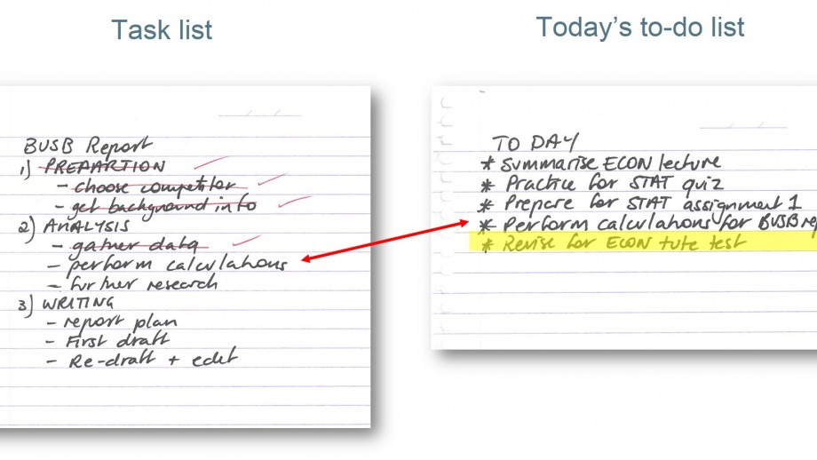 Compiling a to-do list from master lists