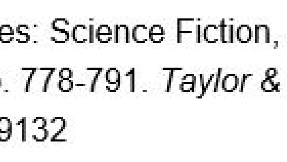 """Figure 4: Completed MLA reference list entry with hanging indent: Shaw, Debra Benita. """"Strange Zones: Science Fiction, Fantasy and the Posthuman City."""" City, vol. 17, no. 6, 2013, pp. 778-791. Taylor & Francis Online, doi: 10.1080/13604813.2013.849132"""