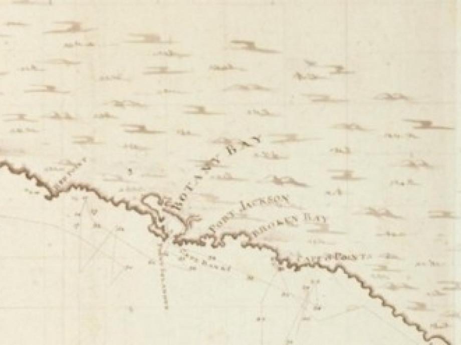 Antique map of Australian coast, showing Botany Bay