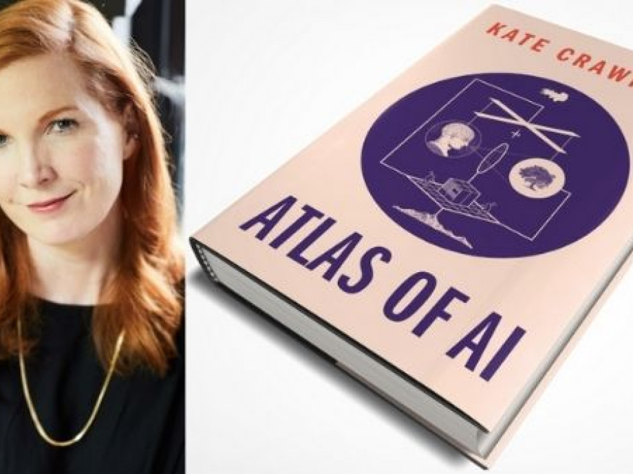 Pink book cover. Text reads: Kate Crawford, Atlas of AI
