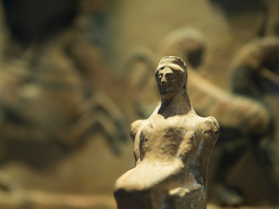 A sculpture of a woman made of stone at The Classics Museum at the Australian National University