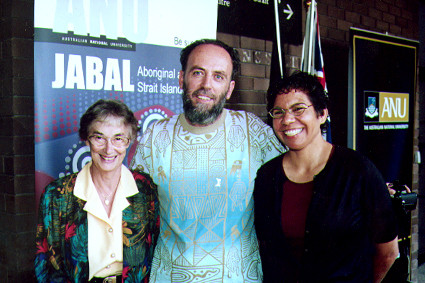 (L to R) Former Vice-Chancellor of the University of Western Australia, Fay Gale (L), Fenner School academic, Richard Baker (C), and ANU Alumni Lynette Liddle (R), at the launch of the Elspeth Young Bequest at the Jabal Centre, 2004. (ANU Photography)
