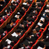 Graduating students in Llewellyn Hall
