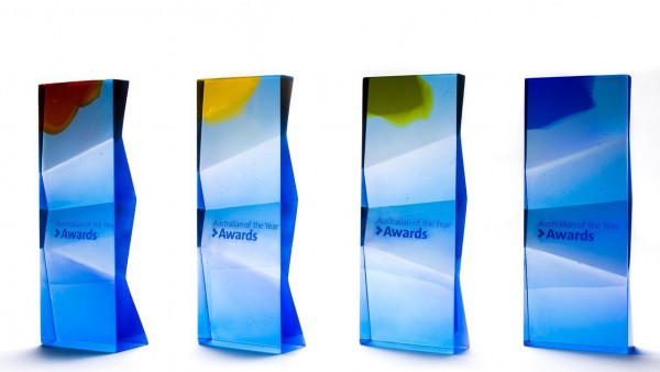 Australian of the Year Award trophies and score created at ANU